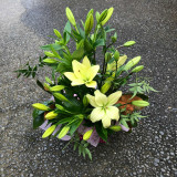 Best of the day asiatic lilies in a box arrangement with seasonal foliage's.