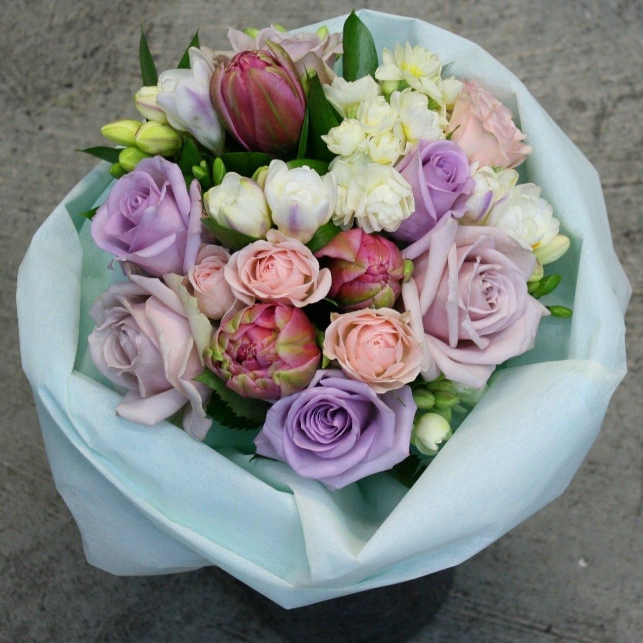 Pastel tones in a handtied bouquet.