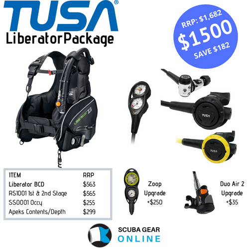 TUSA Liberator BCD/ RS1001 1st & 2nd stage/ SS0001 octopus/ Apeks SPG + Depth package