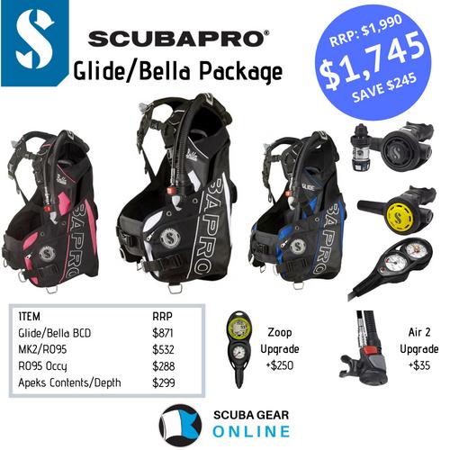 Scubapro Bella or Glide BCD/ Mk-11, R095 1st and 2nd stage, R095 octopus/ Apeks SPG + depth