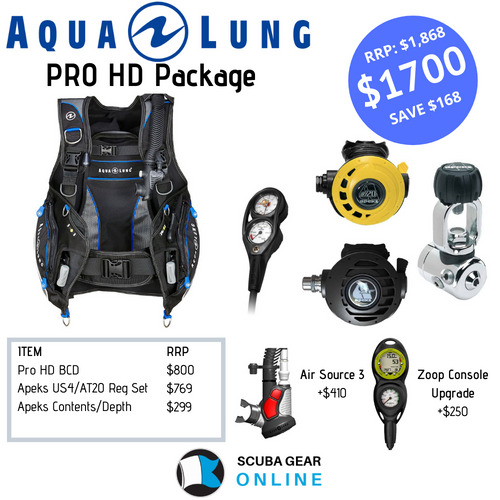 Aqualung ProHD BCD/ Apeks US4, AT20 1st & 2nd stage/ AT20 octopus/ Apeks SPG + depth