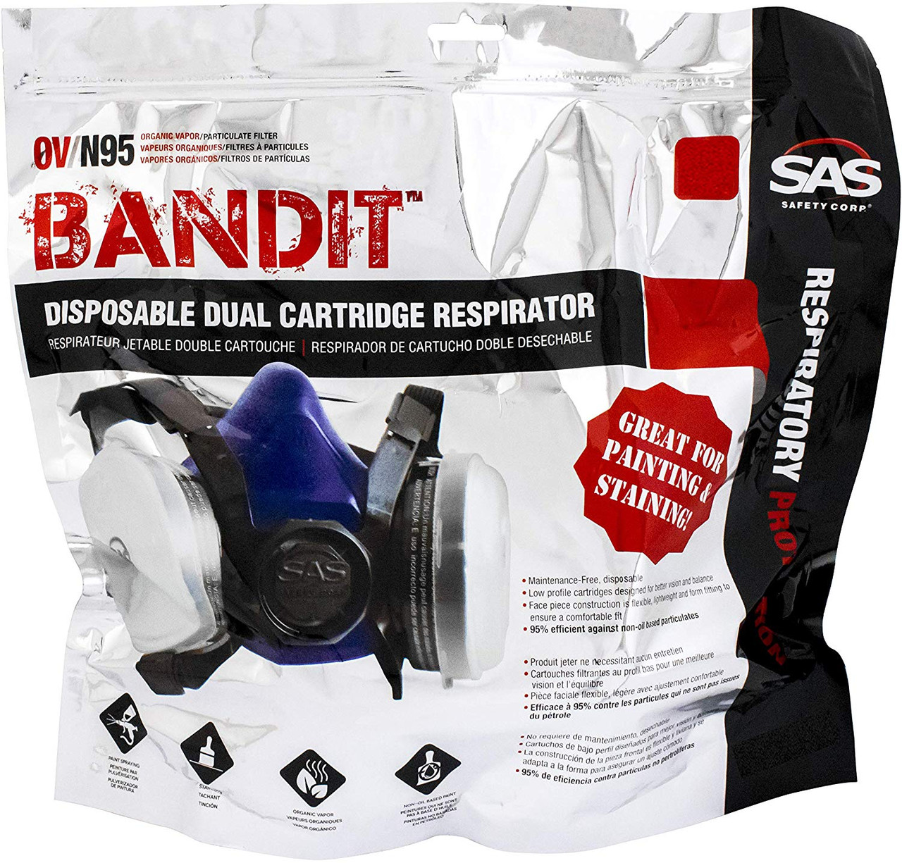 SAS 8661-92 Bandit™ N95 Disposable Dual Cartridge Respirator MEDIUM