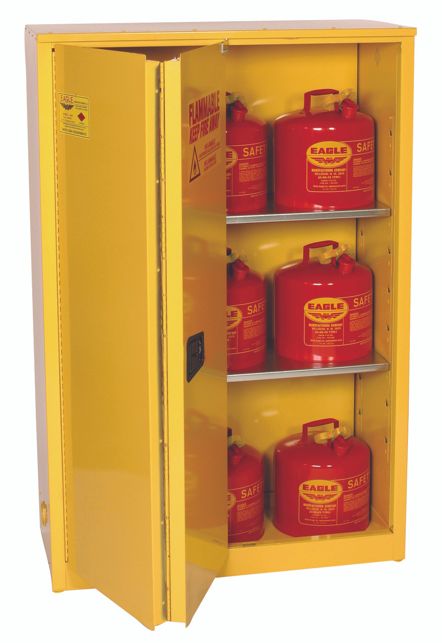 Eagle 1945x Flammable Liquid Safety Cabinet 45 Gal 2 Shelves Sliding Self Close Yellow