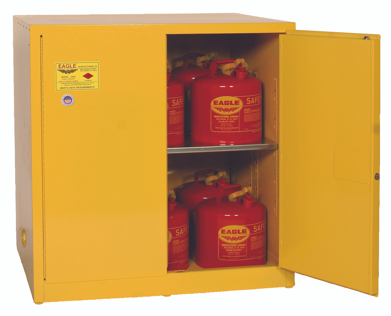 Eagle 1964x Work Bench Flammable Liquid Safety Cabinet 60 Gal 1 Shelf 2 Door Manual Close Yellow