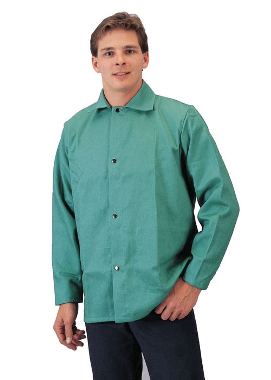 "Tillman 9230 30/"" 9 Oz Blue Fr Cotton//Leather Welding Jacket Large"