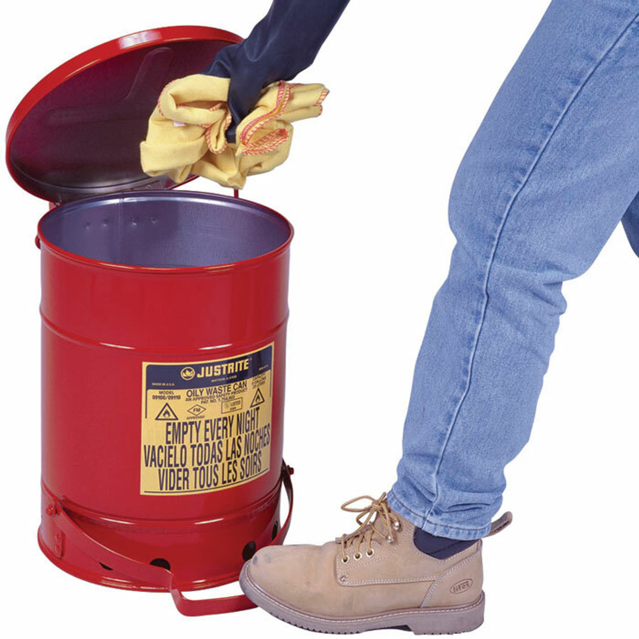 JUSTRITE 09100 Oily Waste Can Red 6 gal