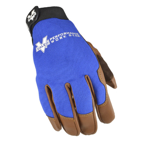 Valeo V256 Leather All Purpose Utility Glove with Blue Stretch Back Top View. Shop Now!