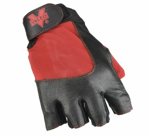 Valeo V336 Material Handling Fingerless Leather Gloves w/Padded Palms. Top View. Shop Now!