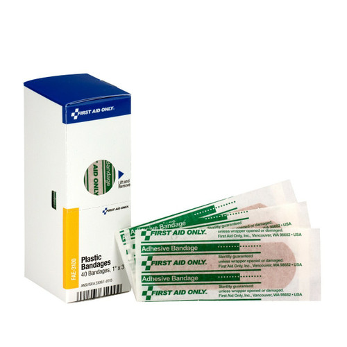 """First Aid Only FAE-3100 SmartCompliance Refill 1"""" X 3"""" Adhesive Plastic Bandages, 40 Per Box. Shop Now!"""