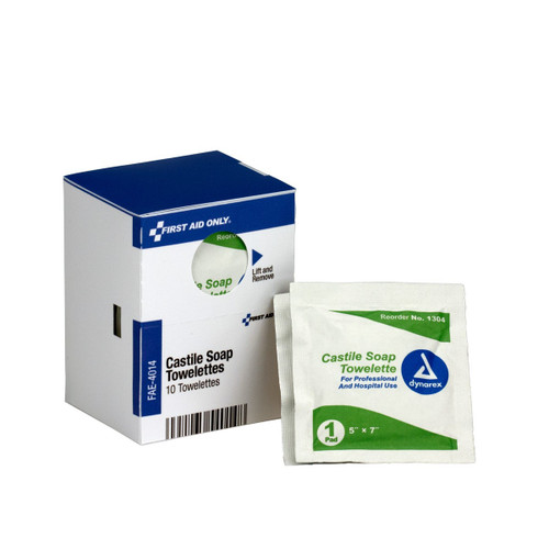 First Aid Only FAE-4014 SmartCompliance Refill Castile Soap Wipes, 10 Per Box. Shop Now!