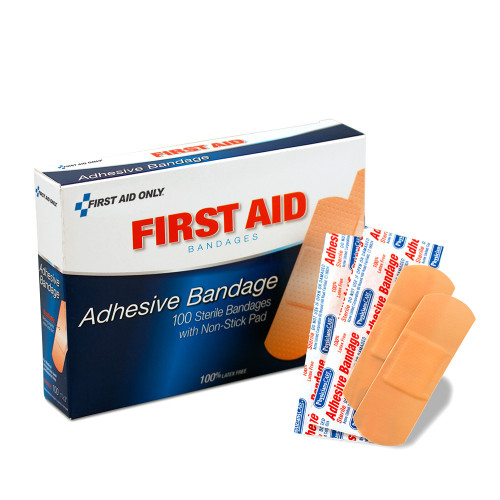 """First Aid Only FA-90097 1""""X3"""" Plastic Bandages, 100 Per Box . Shop Now!"""