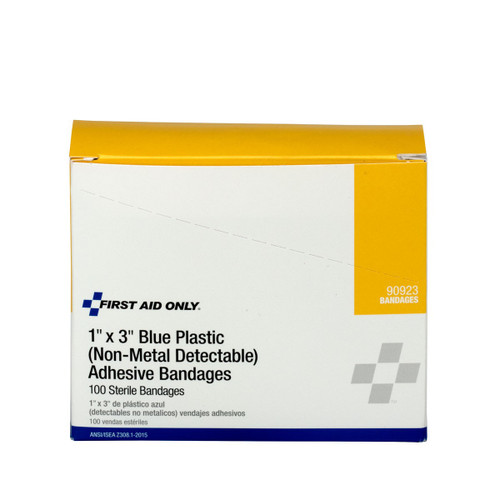"""First Aid Only FA-90923 1""""X3"""" Plastic Bandages Blue, 100 Per Box. Shop Now!"""