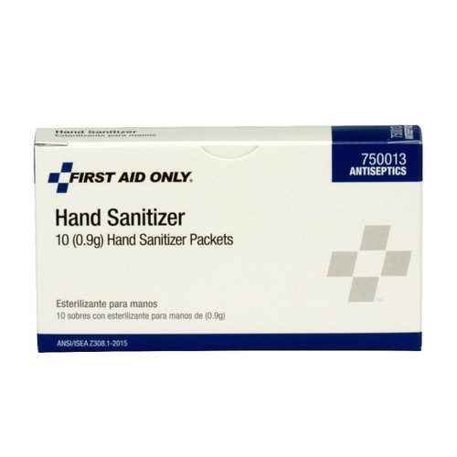 First Aid Only FA-750013 Hand Sanitizer Packets (0.9g), 10 Per Box. Shop Now!