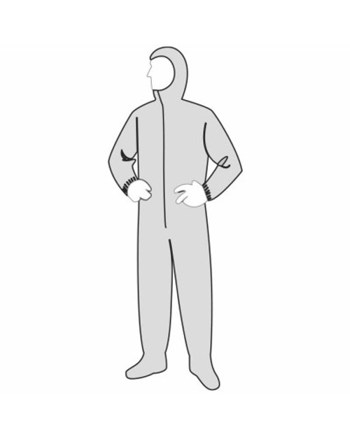 Disposable Polygard Coveralls Heavy Weight Polypropylene With attached Hood and Boots - 25 Each.  Available in Sizes Large through 4 XL .  Shop Now