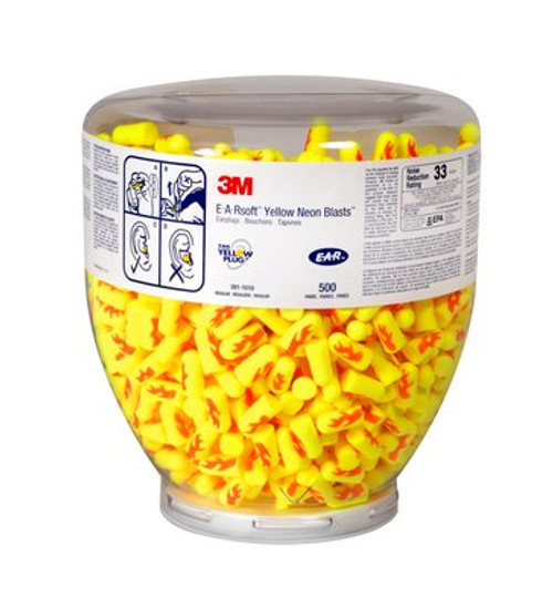 3M 391-1010 E A R Soft Yellow Blasts One Touch Dispenser Earplugs Refill - 500 Pairs