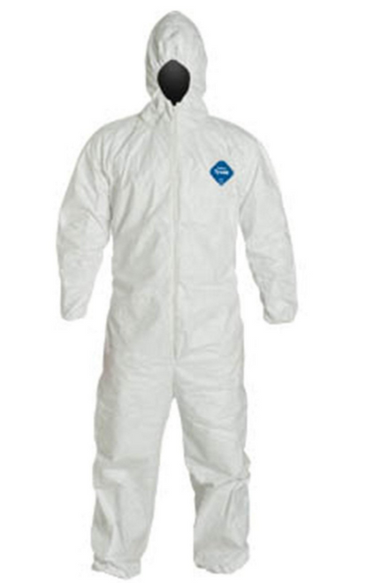 Dupont TY127S WH Coveralls Hood Elastic Wrists and Ankles Front view. Shop now!