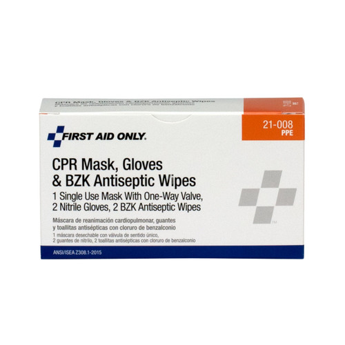 First Aid Only 21-008 CPR First Aid Pack, Includes Mask, 2 Gloves, 2 Wipes. Shop Now!
