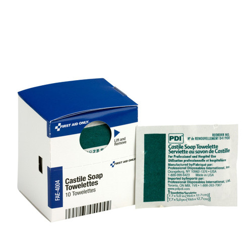First Aid Only FAE-4004 SC Refill Castile Soap Wipes, 10/box. Shop Now!