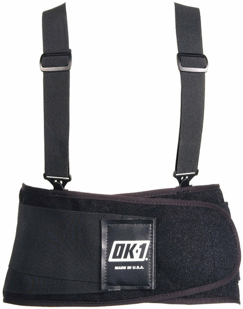 """OK UNIV Classic Universal Back Support with detachable, 1.5"""" wide suspenders and 9"""" Back Support available in Black Color .Shop now!"""