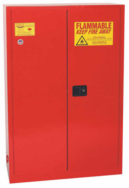 Eagle PI45X Paint & Ink Safety Cabinet, 60 Gal., 5 Shelves, 2 Door, Sliding Self Close, Red. Shop Now!