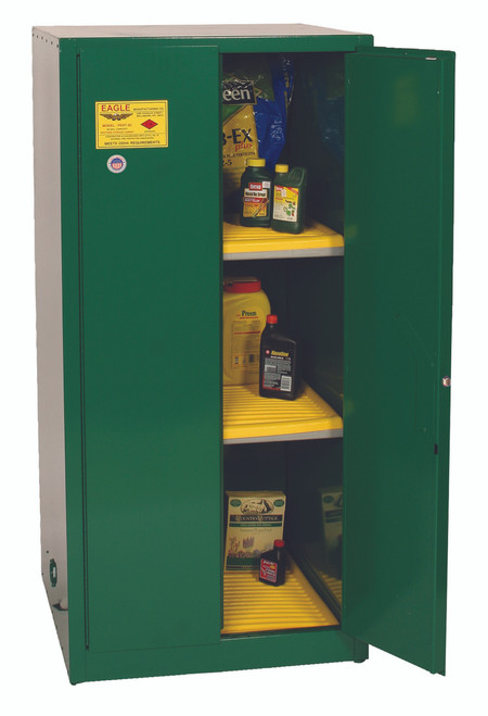 Eagle PEST62X Pesticide Safety Cabinet, 60 Gal., 2 Shelves, 2 Door, Manual Close, Green