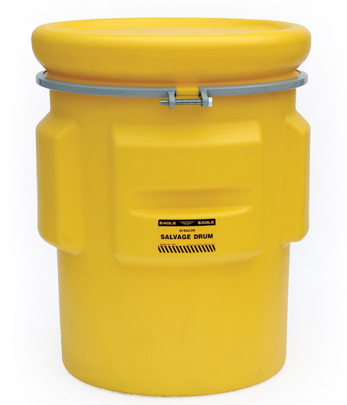 Buy Eagle 1665 Salvage Drum 65 Gal Yellow with Metal Band w/ Bolt today and SAVE up to 25%.