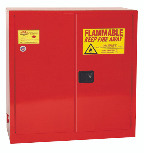 Buy Eagle PI3010X Paint & Ink Safety Cabinet, 40 Gal., 3 Shelves, 2 Door, Self Close, Red today and SAVE up to 25%.
