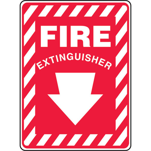 Accuform MFXG908 Fire Extinguisher Sign with Down Arrow. Shop now!