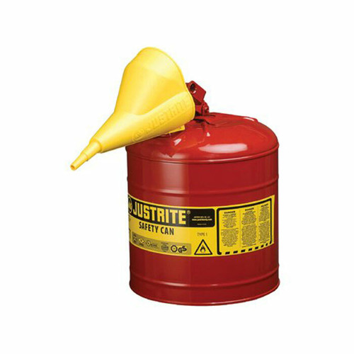 Justrite 7150110 Self Close Lid 5 Gal Type I Safety Can w/ Funnel. Shop now!