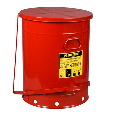 Justrite 09700 Self Close Cover 21-Gal Oily Waste Can. Shop now!