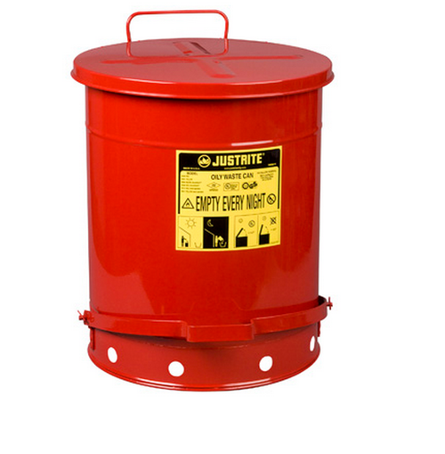 Justrite 09500 Self Close Cover 14-Gal Red Oily Waste Can. Shop now!