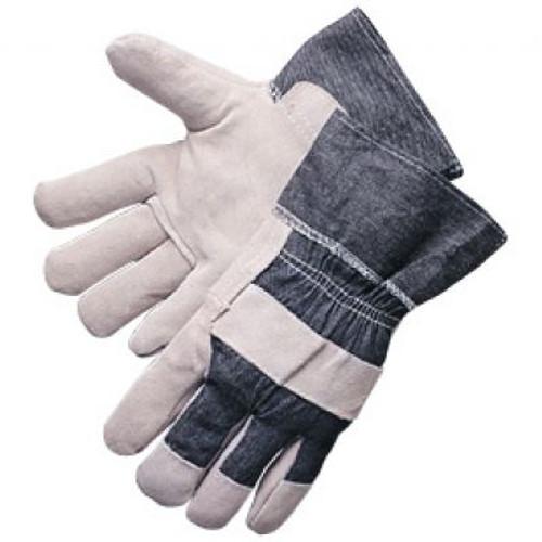 Denim Cuff Leather Palm Gloves. Shop Now!