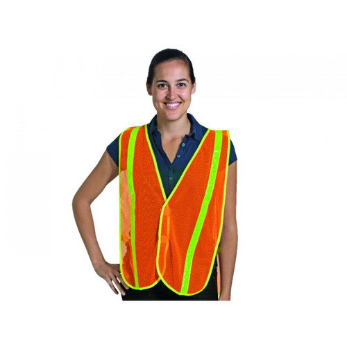 Orange Mesh Safety Vest with Yellow Reflective Strip. Shop Now!
