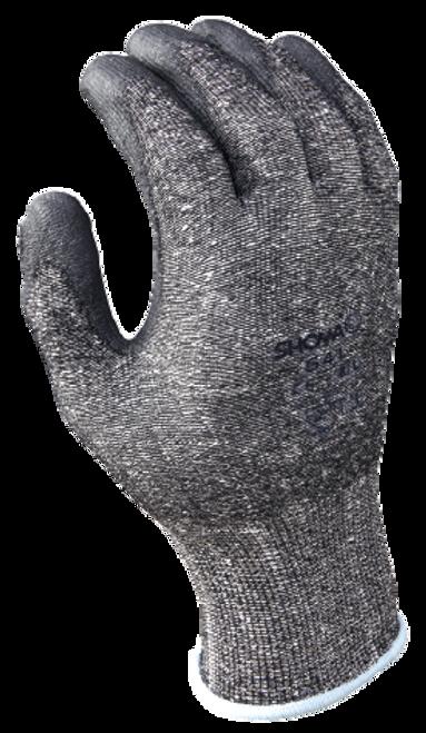 13- gauge engineered cut resistant fiber w/polyurethane palm coating, HPPE, black with gray coating, textured finish, ANSI CUT LEVEL 2. Shop Now!