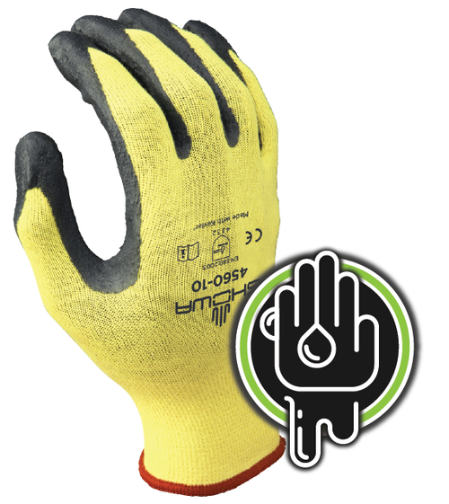 Cut resistant, MXOA sponge nitrile-coated palm-dipped, seamless, cut-resistant Stretch Kevlar shell, yellow w/ gray dip, ANSI CUT LEVEL 3. Shop Now!