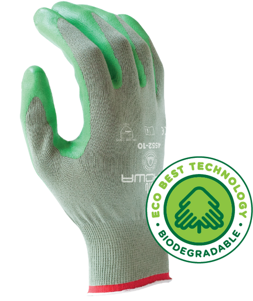 Biodegradable, sponge nitrile-coated, flat-dipped, seamless polyester shell, gray w/green dip. Shop Now!