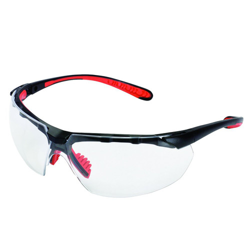38498 Clear Anti-Fog Lens, Black Frame with Red Tips