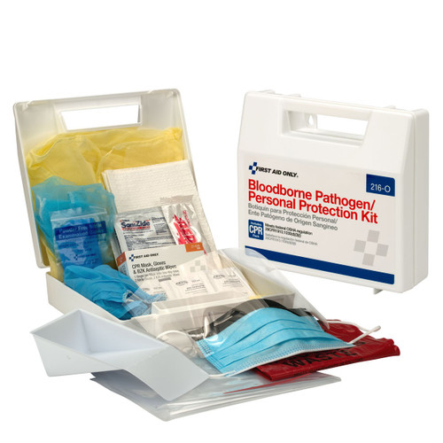 First Aid Only Bloodborne Pathogen (BBP) Spill Clean Up Kit & Personal Protection With CPR Pack, Plastic Case