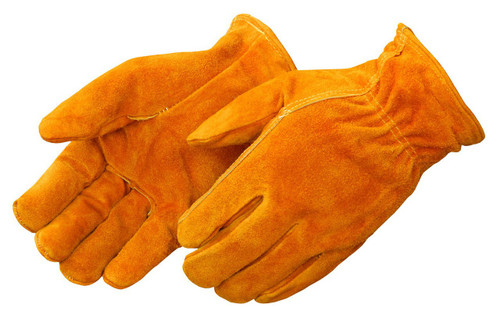 Red Fleece Lined Bourbon Brown Split Cowhide Driver Gloves. Shop Now!