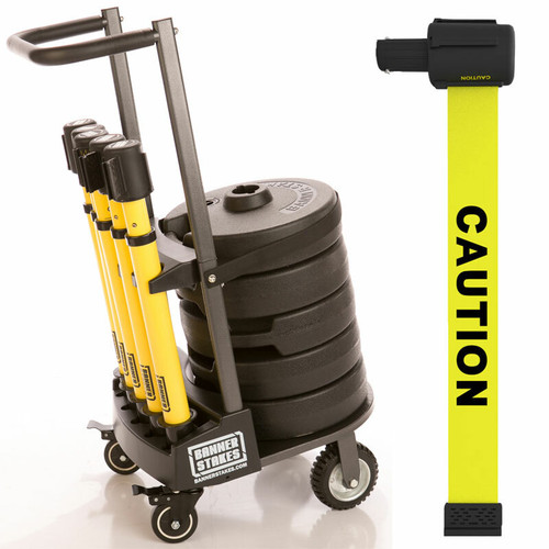 "Banner Stakes PL4001 PLUS Cart Package, Yellow ""Caution"" Banner. Shop now!"