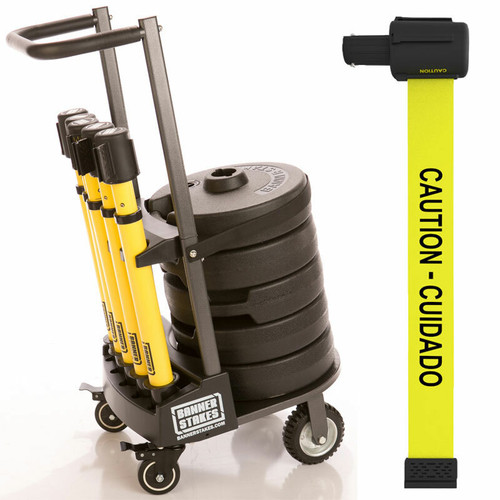"""Banner Stakes PL4002 PLUS Cart Package, Yellow """"Caution-Cuidado"""" Banner. Shop now!"""
