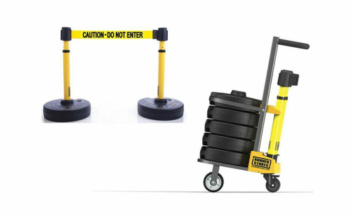 """Banner Stakes PL4004 PLUS Cart Package, Yellow """"Authorized Personnel Only"""" Banner"""