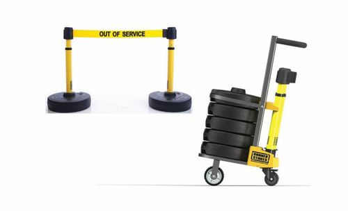 """Banner Stakes PL4006 PLUS Cart Package, Yellow """"Out of Service"""" Banner. Shop now!"""