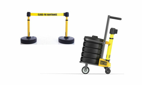 "Banner Stakes PL4007 PLUS Cart Package, Yellow ""Closed for Maintenance"" Banner"