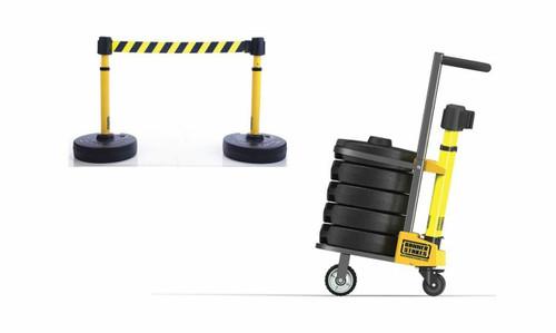 Banner Stakes PL4008 PLUS Cart Package, Yellow/Black Diagonal Stripe Banner. Shop now!
