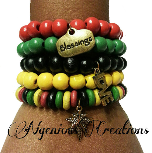 RASTA WOOD BRACELET SET