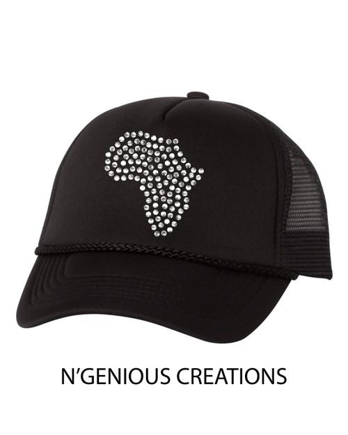 AFRICA RHINESTONE TRUCKER HAT