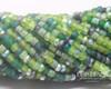 5/0 Aged Green Sensations Matted Striped Tube Mix (1/4 Kilo)