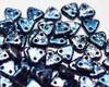 6mm 2 Hole Triangles Granite Galaxy Lapis (100 Grams)
