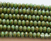 4x7mm Green Turquoise Picasso Rondelles (300 Pieces)